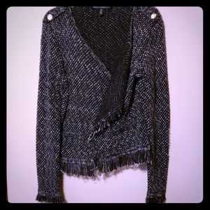 Whbm cardigan fringe sweater black&white warm